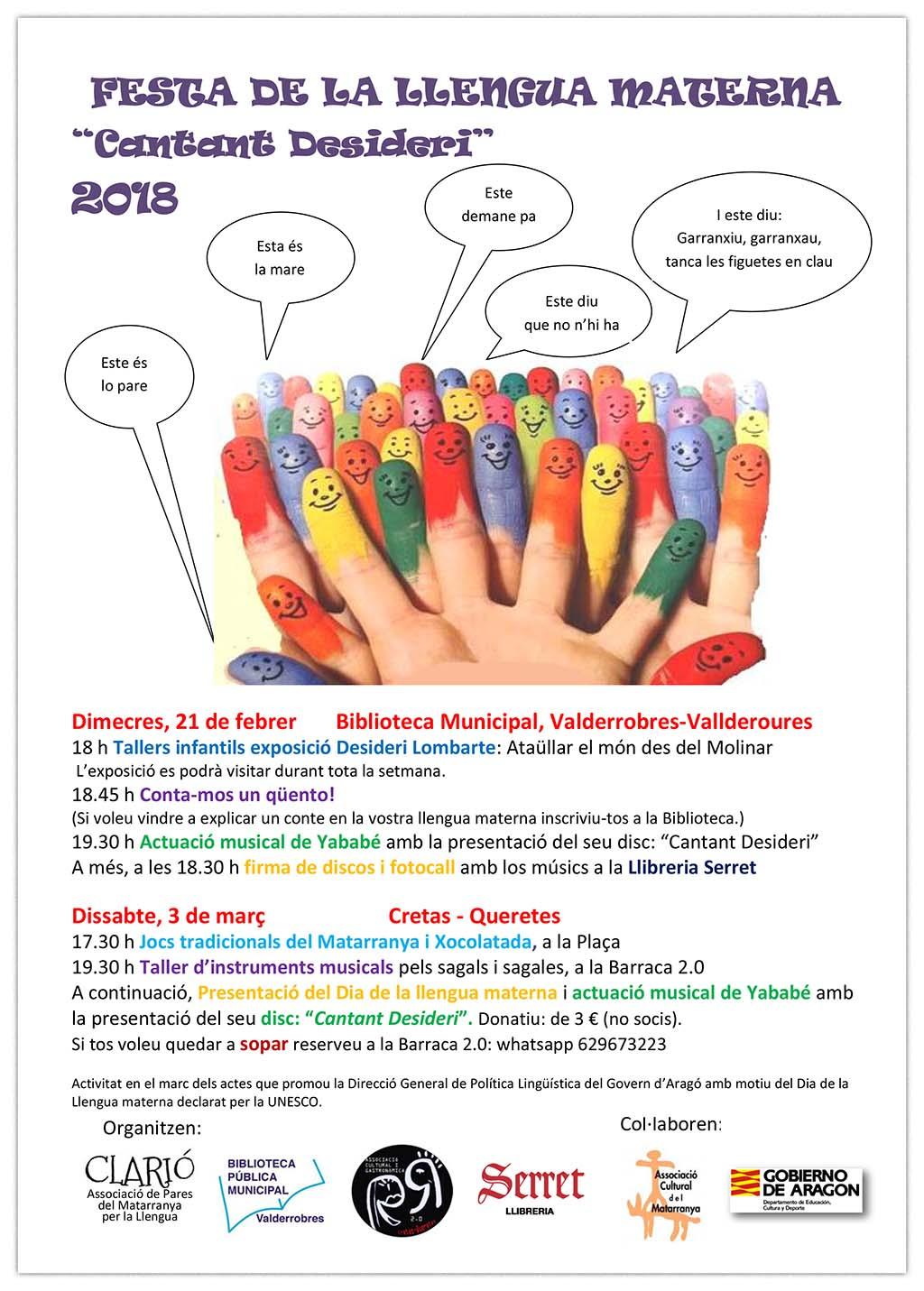 """Festa de la Llengua Materna 2018: """"Cantant Desideri"""""""
