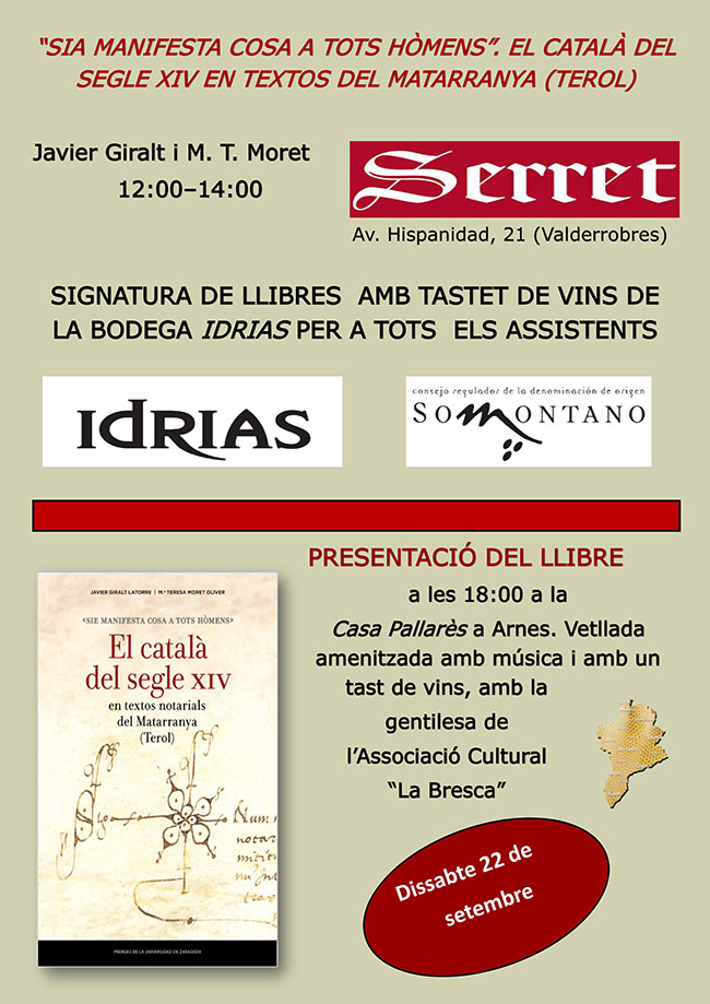 """Presentació de """"El català al segle XIV en textos del Matarranya"""""""