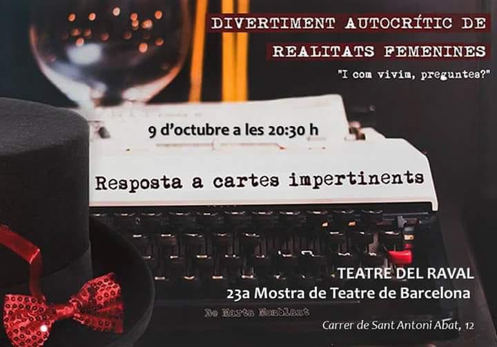 'Resposta a Cartes Impertinents' al Teatre del Raval el 8 d'octubre