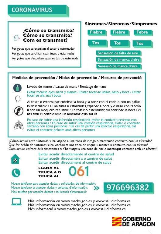 Indicacions del Govern d'Aragó per combatre el coronavirus